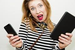 Mujer muy ocupada fotografía de archivo libre de regalías
