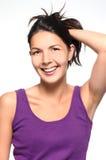 Mujer natural vivaz de risa Imágenes de archivo libres de regalías