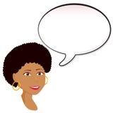 Mujer negra con la burbuja del discurso Imágenes de archivo libres de regalías