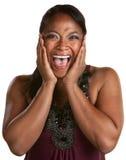 Mujer negra de risa Imagenes de archivo