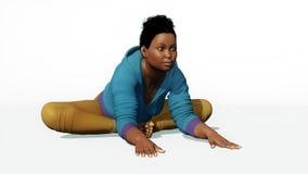 Mujer negra del tamaño extra grande que estira actitud de la yoga ilustración del vector