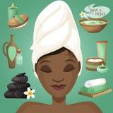 Mujer negra en balneario ilustración del vector