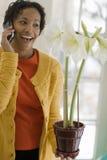 Mujer negra en el teléfono celular que admira una flor Imagenes de archivo