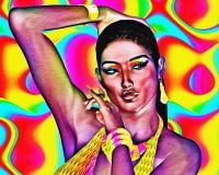 Mujer negra hermosa con el fondo y el efecto abstractos coloridos de la historieta Fotografía de archivo