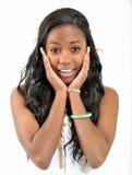 Mujer negra joven atractiva - sorpresa dada una sacudida eléctrica Imágenes de archivo libres de regalías