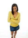 Mujer negra joven con la expresión escéptica Imágenes de archivo libres de regalías