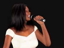 Mujer negra que canta Foto de archivo