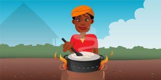 Mujer negra que revuelve el pote Foto de archivo libre de regalías