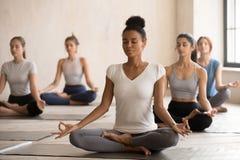 Mujer negra y grupo de personas de la yogui en medio Lotus fotos de archivo