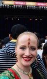 Mujer neozelandesa que celebra el festival de Diwali en Auckland, nueva Fotografía de archivo libre de regalías