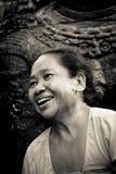 Mujer nepalesa de risa, cuadrado de Durbar, Katmandu, Nepal Imagen de archivo libre de regalías