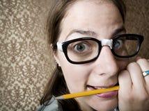 Mujer Nerdy nerviosa Imagen de archivo libre de regalías