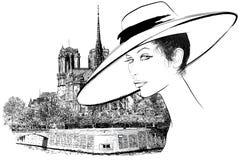 Mujer Notre Dame próxima en París libre illustration