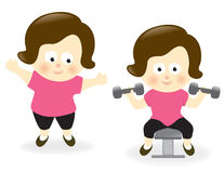 Mujer obesa antes y después Imagen de archivo libre de regalías
