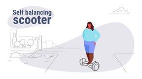 Mujer obesa gorda que monta a la muchacha gorda de equilibrio de la vespa del uno mismo eléctrico usando concepto malsano de la f ilustración del vector