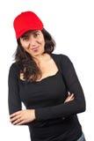 Mujer ocasional con un casquillo rojo Fotos de archivo