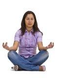 Mujer ocasional meditating Foto de archivo libre de regalías