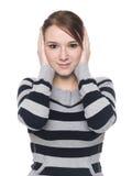Mujer ocasional - no oiga ningún mal fotos de archivo