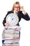 Mujer ocupada con el reloj fotografía de archivo