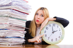 Mujer ocupada con el reloj Fotos de archivo
