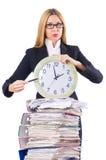 Mujer ocupada con el reloj fotografía de archivo libre de regalías