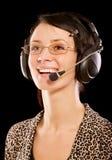 Mujer-operador con el auricular Fotografía de archivo