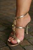 Mujer ordinaria con los zapatos del partido Fotografía de archivo