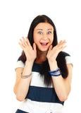 Mujer ordinaria emocionada que grita Imagen de archivo