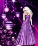 Mujer púrpura del día de fiesta de la Navidad Imagen de archivo libre de regalías