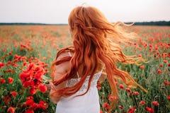 Mujer pelirroja joven hermosa en campo de la amapola con el pelo del vuelo Imágenes de archivo libres de regalías