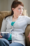 Mujer pensativa con café Imagen de archivo libre de regalías