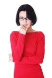 Mujer pensativa con problema Fotografía de archivo