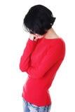 Mujer pensativa con problema Imágenes de archivo libres de regalías