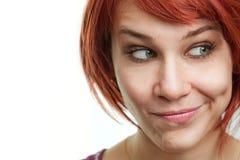 Mujer pensativa en el dilema para una decisión Fotografía de archivo