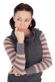 Mujer pensativa triste Imagen de archivo libre de regalías