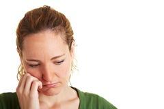 Mujer pensativa triste Fotografía de archivo libre de regalías