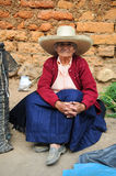 Mujer peruana en el mercado local Fotos de archivo libres de regalías