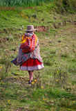 Mujer peruana en la calle Huaraz, Perú Imagen de archivo libre de regalías