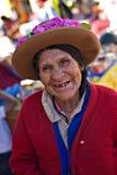 Mujer peruana en un mercado, Pisac, Perú Imágenes de archivo libres de regalías