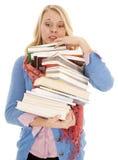 Mujer pila enorme de libros Fotografía de archivo libre de regalías