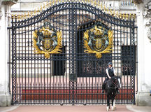 Mujer policía montada en el Buckingham Palace Fotos de archivo libres de regalías