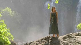Mujer por la cascada almacen de video