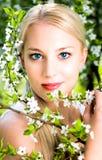 Mujer por las flores en árbol Fotos de archivo