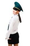 Mujer positiva del control de aduanas Foto de archivo libre de regalías