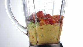 Mujer que añade verduras en la licuadora cocinar gazpacho sano de la comida almacen de metraje de vídeo