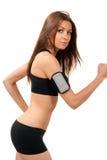 Mujer que activa, el ejecutarse de la dieta de la aptitud, recorriendo en gimnasia Imágenes de archivo libres de regalías