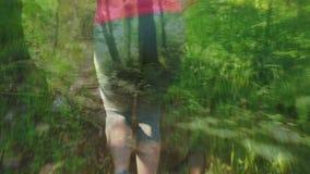 Mujer que activa en el bosque metrajes