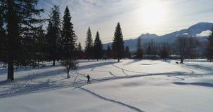 Mujer que activa en el paisaje nevoso 4k almacen de video