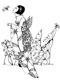 Mujer que admira libélulas Imagen de archivo libre de regalías