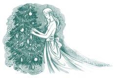 Mujer que adorna el árbol de navidad stock de ilustración